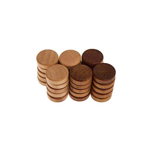 ROMBOL Backgammonsteine (29 x 9 mm), Holz, Buche/Nussbaumfarben gebeizt, gefaste Kanten