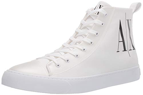 Armani Exchange High Top Cotton Sneakers, Zapatillas Altas Hombre, Blanco (Op.White+Black Logo 00152), 43 EU