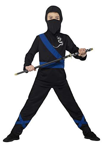 Smiffys 21073L - Kinder Jungen Ninja Assassin Kostüm, Alter: 10-12 Jahre, Größe: L, schwarz/blau