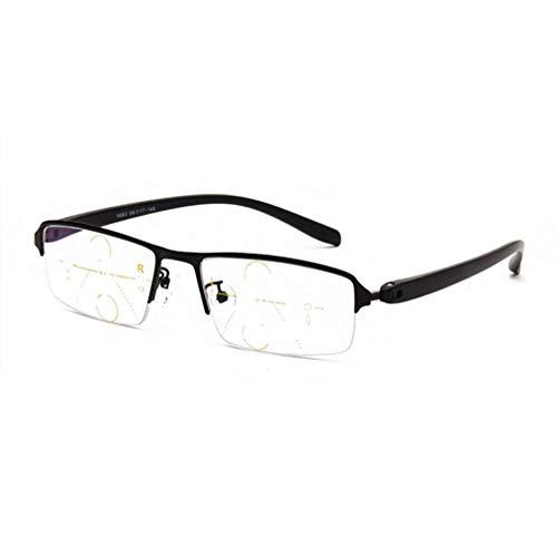 YAO YU Gafas de Lectura Multifocales Fotocrómicas Progresivas, Mde Aleación Maldita Rimmed Gafas de Sol Polarizadas, Cerca Y Lejano de Lectores Unisexes/Negro/2