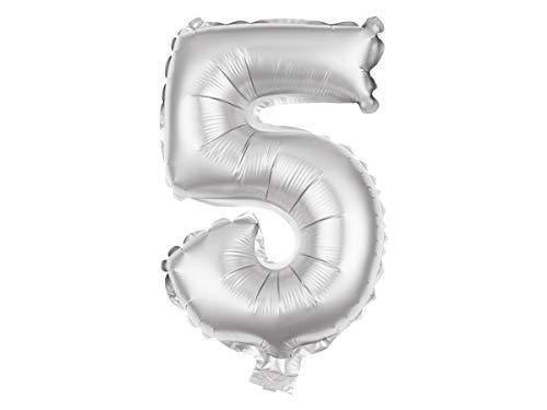 Ballon XXL argenté en Forme de Chiffre Gonflable en Aluminium de qualité supérieure Numéro Environ: 80 cm décoration compléter déco :BAL-155 Chiffre 5