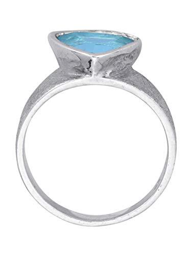 WENZ Damen 925 Silber Ring mit Topas in Blau
