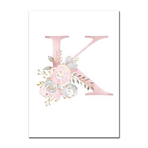 Baby Poster Personalisierte Mädchenname Benutzerdefinierte Poster Kinderzimmer Drucke Rosa Blumen Wandkunst Leinwand Malerei Bilder Für Mädchen Zimmer K 13X18cm Kein Rahmen