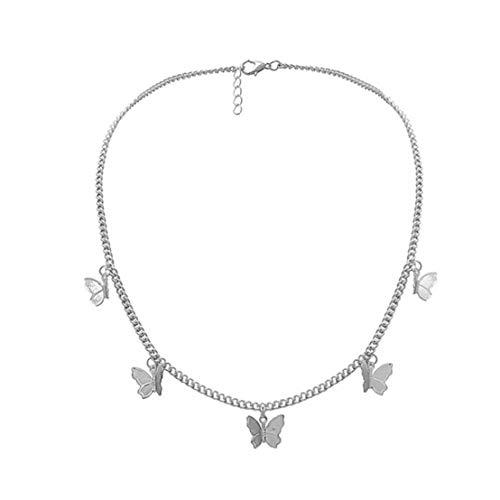 Odoukey Collar Colgante Collar de Insectos voladores 5 Mariposas clavícula Cadena de Plata Insectos voladores