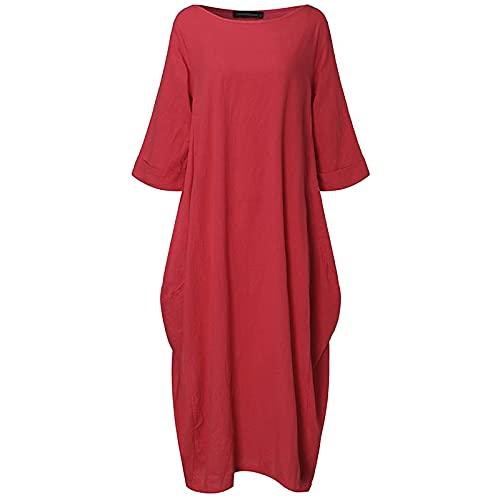 Ykghfd Vestido largo para mujer, vestido de manga larga, vestidos sueltos para mujer, algodón y lino, rosso, XXL