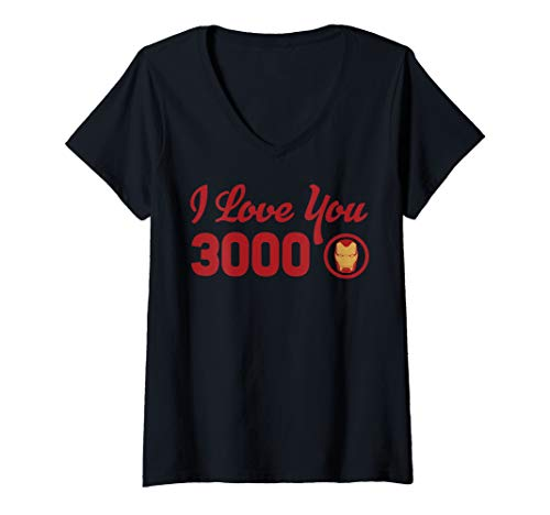 Womens Marvel Avengers Endgame Iron Man I Love You 3000 Red Logo V-Neck T-Shirt