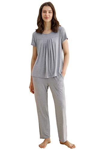 Latuza Women's Pleated Shirt and Pants Pajamas Set 2X LightGray