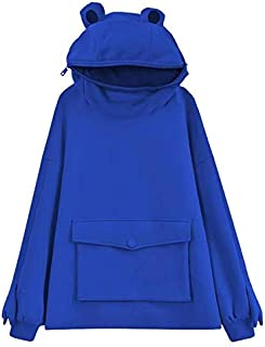 Women Novelty Frog Hoodie, Cute Zipper Mouth Long Sleeve Solid Color Hooded Sweatshirt with Flap Pocket