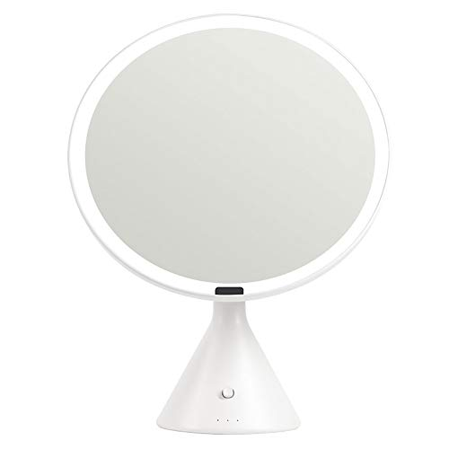 Intelligente high-definition grote ronde spiegel desktop lamp met ijdelheid spiegel vervormt niet niet-kleurende make-up spiegel 246MM Kleur: wit