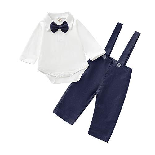 FYMNSI - Conjunto de traje formal para bebé y niño (algodón, manga larga, 3 piezas, para fiesta de cumpleaños de 0 a 18 meses)