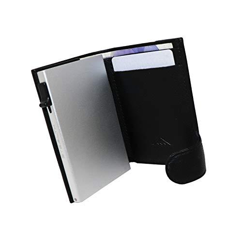 STEALTH Wallet Minimalistischer RFID Kartenhalter - Smart NFC blockierende Popup Geldbörsen mit Geschenkbox - Kreditkartenhalter mit Schutz (Silberaluminium mit schwarzem Leder und Münztasche)