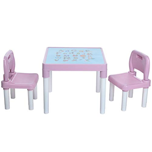 WudiTop 【Fast Delivery】 Kids Plastic Table and 2 Chairs Set, Children's Study Activity Table Set Great Gift for Boys or Girls Toddler Best Gift for 3, 4, 5 Year Olds and Up, 20x20x17.31inch (Pink)