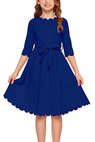 GORLYA Girl's 3/4 Sleeve Casual Scalloped Edge A-line Belted Dress with Pockets for 4-14T Kids (GOR1031, 7-8Y, Blue)