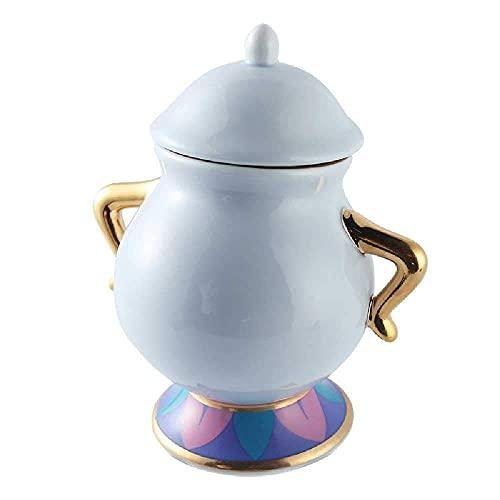 N&G Accesorios para Sala de Estar Explosiones Bella y Bestia Tetera de cerámica Señora Potts y Chip The Sugar Bowl