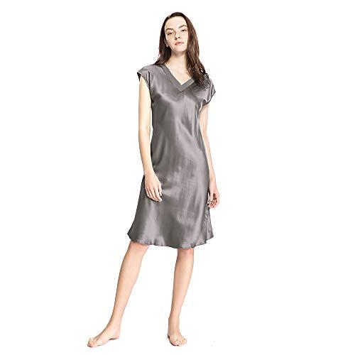 LilySilk Long Silk Nightgowns for Women Long V Neck 22 Momme Mulberry Silk Nightdress Dark Gray Size 8-10/M