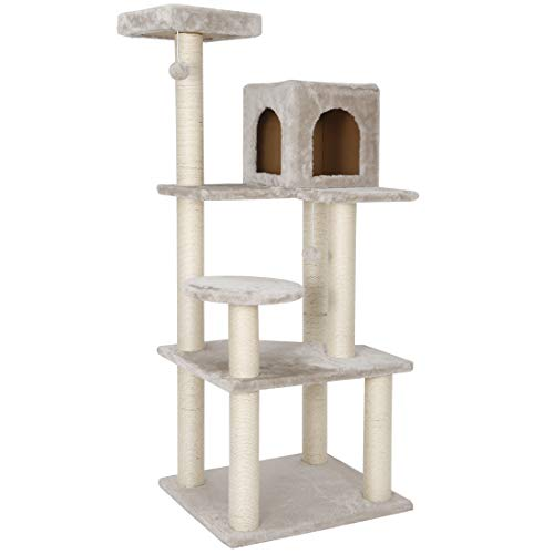 56.3 Inches Cat Tree Furniture Kittens Activity Tower with Scratching Posts Kitty Pet Play House