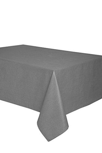 Mantel antimanchas rectangular Olimpia 50% algodón 50% poliéster, resinado y con Teflón de Dupont® - 150x300 - Liso gris