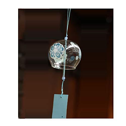 Vent Bell japonais Carillon éolien en verre fait main vent chimes-blue Fleur