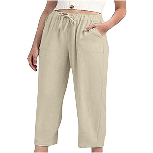 Routinfly Pantalones de verano para mujer, de lino, para tiempo libre, para correr, para entrenamiento, elásticos, holgados, elásticos, con cordón, hasta la pantorrilla, Mujer, beige, small