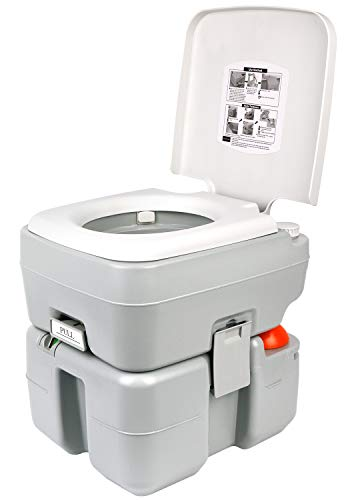 Leader Accessories Portable Toilet - Travel Toilet with Level Indicator - 3 Way Pistol Flush - Rotating Spout, for Camping, Boating, Traveling & Roadtripping - 5.3 Gallon (20L)