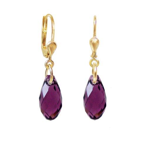 Schöner-SD, hochwertig vergoldete Ohrringe mit kleinen Kristallen von Swarovski® 13mm Farbe Amethyst, lila, aubergine