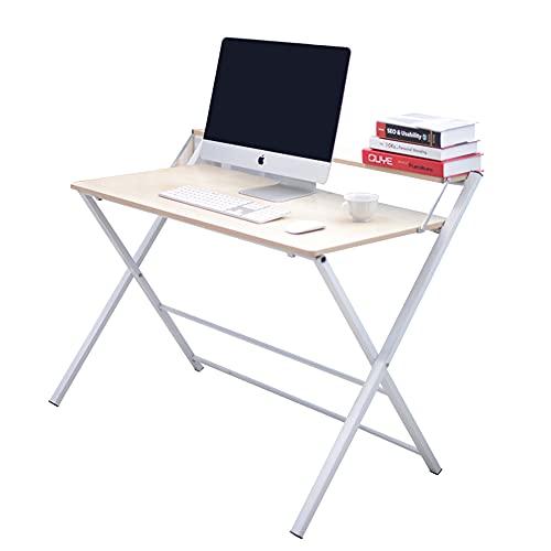 Cicano Escritorio plegable sin asamblea, pequeño para el hogar, oficina, portátil, mesa de 2 niveles con estante ahorro de espacio mesa de estudio