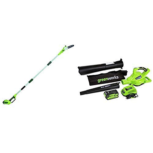 Greenworks 8.5' 40V Cordless Pole Saw, 2.0 AH Battery Included 20672 with 40V 185 MPH Variable Speed Cordless Blower Vacuum, 4.0 AH Battery Included 24322