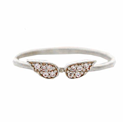 Fablcrew Ailes d'ange Bracelet Argent Oxyde de Zirconium Chaîne de Main Cristal Bijoux pour fille