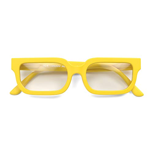 LONDON MOLE Eyewear | ICY Lesebrille | Quadratische / Rechteckige Brille | Coole Leser | Herren Damen Unisex | Federscharniere | Gelb | +2,5