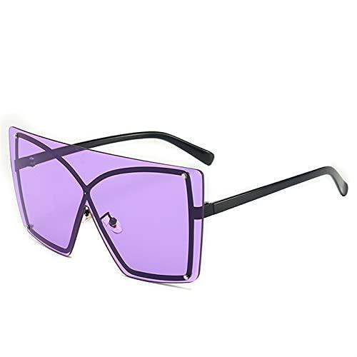 SLAKF Gafas duraderas Gafas de Sol degradados Mujeres de Moda de una Pieza Gafas de Sol Enorme Marco de Gran tamaño Sombras Femeninas UV400 (Lenses Color : C4 Purple)