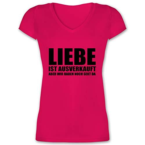 Festival - Liebe ist ausverkauft Sekt - schwarz - XL - Fuchsia - Geschenk - XO1525 - Damen T-Shirt mit V-Ausschnitt