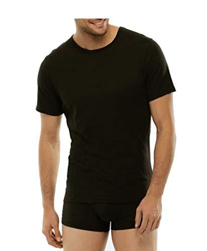 Baci & Abbracci ® - Magliette Intime Uomo Cotone Elasticizzato Girocollo Pacco da 3 T Shirt Uomo Manica Corta Cotone Bielastico Maglietta Uomo Nera Bianca e Colorata (XL, Nero)