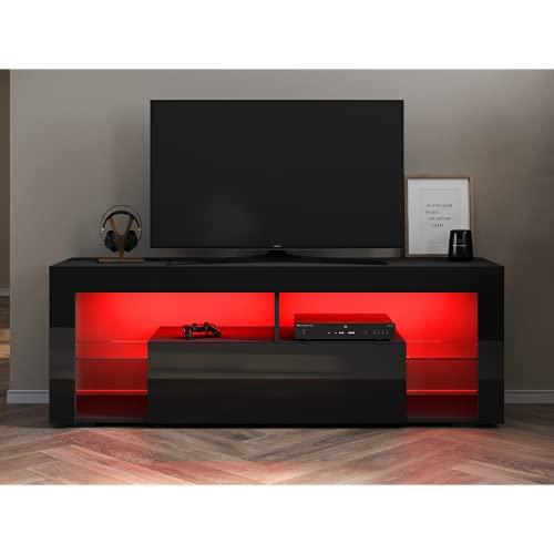 SONNI Mobile Porta TV 140x35x50.5cm, Armadio Moderno per TV, Supporto TV, per Soggiorno o Salotto - Nero