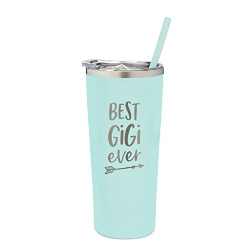 SassyCups Best Gigi Ever Tumbler | 22 Ounce Engraved Mint Stainless Steel Vacuum Insulated Travel Mug with Slide Close Lid and Straw | | World's Best Gigi | New Gigi Birthday Present | Gigi To Be