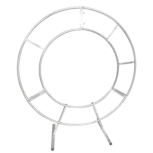 LOYALHEARTDY 1.5m Double Tube Round Wedding Stand Silver, Arch Framework Stand Metal Round Wedding Party Circular Floral Moon Archway Backdrop Romantic Venue Decor (1.5m/59inch)