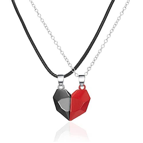 Magnetic Couple Collar Amistad Corazón Colgante Distancia Faceted Charm Collar Mujeres Regalo de San Valentín 5