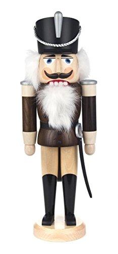 Nussknacker Figur Husar braun-natur von DREGENO SEIFFEN 37 cm – Original erzgebirgische Handarbeit, stimmungsvolle Weihnachts-Dekoration