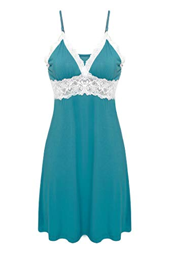 Ekouaer Sleepwear Womens Chemise Nightgown Full Slip Lace Lounge Dress (Viscose-blue green, Large)