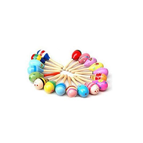 Read About UDTEE 12PCS Mini Wooden Fiesta Maracas(Colors Vary)
