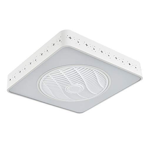 ZYXF Cuadrado Ventilador De Techo con Luz 96W LED Ventilador Viento Ajustable Luz De Techo con Mando A Ultra Silencioso [Clase De Energía A ++] (Color : White, Size : 110V)