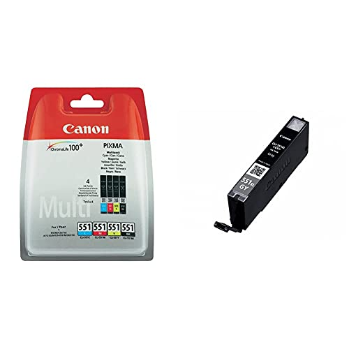 Canon CLI551 4 Cartuchos Multipack de Tinta Original + CLI-551XL GY Cartucho de Tinta Original Gris XL para Impresora de Inyeccion de Tinta Pixma MG6350-MG7150-MG7550-iP8750