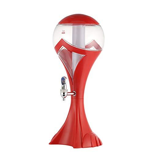 Boyuan Dispensador de Torre de Cerveza 3L, Torre de Bebidas de dispensador de Bebidas claras, con Luces de Colores y Tubo de Hielo extraíble, Barra de Fiesta a casa,Rojo