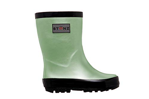 Stonz Rainboot, All-Natural Rubber Rainboots for Toddler Little Big Kid - Waterproof Colorful Warm - Summer Fall Winter - Mint Green, Size 2Y
