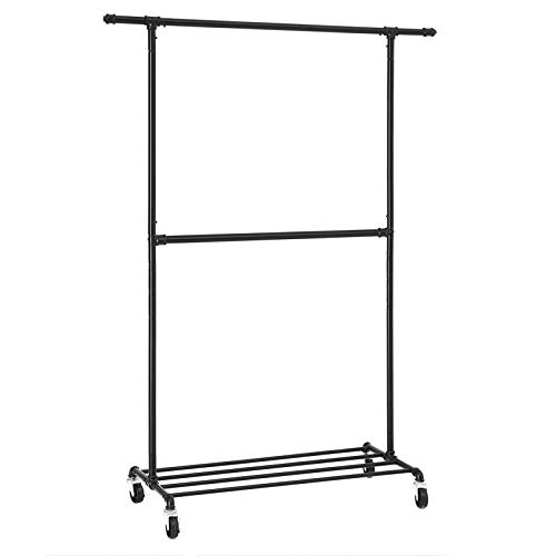 SONGMICS Industrial Style Clothes Garment Rack on Wheels,...