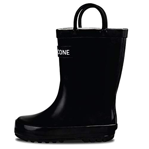 LONECONE Rain Boots with Easy-On Handles for Toddlers and Kids, Shiny Black, Little Kid 12