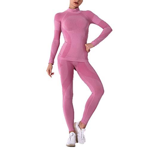 Conjunto de Ropa Fitness Deportiva para Mujer, Ropa de yoga de cuello alto for mujer con trajes de 2 piezas sin costuras Leggings de alta cintura de manga larga Camisetas de yoga Top Top Juego Legging
