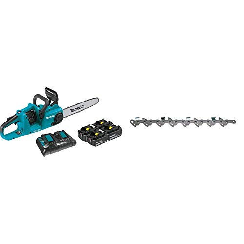 """Makita XCU03PT1 18V X2 (36V) LXT Lithium-Ion Brushless Cordless 14"""" Chain Saw Kit with, 4 Batteries (5.0Ah) & Oregon 90PX052G Low Profile 3/8-Inch Pitch 0.043-Inch Gauge 52-Drive Link Saw Chain"""