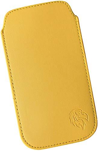 Dealbude24 Schutz Tasche für LG Q6 / Q7 Plus mit Hülle, Hülle Handy herausziehbar, dünnes Etui genäht mit Rausziehband, innen weiches Microfaser mit exklusiv Adler Motiv XX Gelb