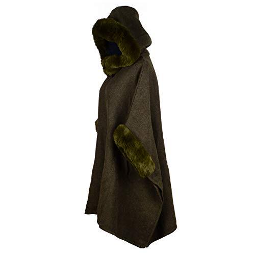 Iristide Women's Hooded Cloak Faux Rabbit Fur Cape Wrap Wool Coat Cardigan Poncho Warm (Green)