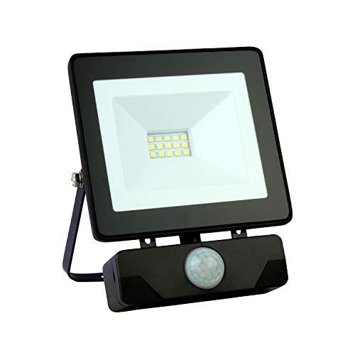 Emos LED Strahler Flutlicht 10 Watt (10W) / 800 Lumen Scheinwerfer Außenstrahler neutralweiß (4000k) mit Bewegungsmelder (PIR Sensor), staub- und wasserbeständig Schutzklasse IP54, schwarz